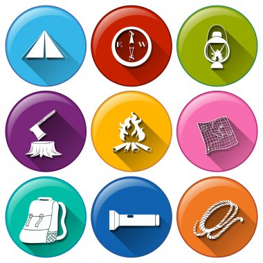 Rounded buttons with the different materials for camping