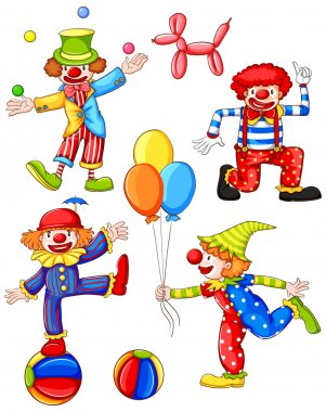 A simple coloured drawing of the four clowns