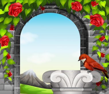 A stonewall with roses and a bird