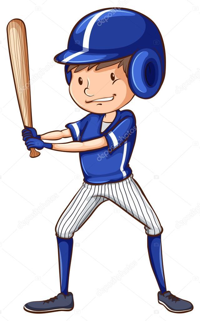 Un jugador de béisbol con un palo — Archivo Imágenes Vectoriales ...