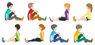 Illustration of people sitting stock vector