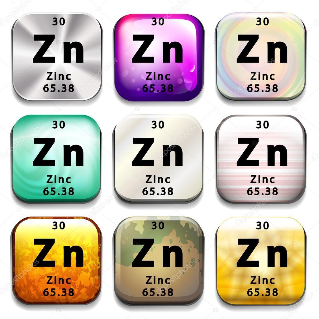 A periodic table showing zinc stock vector blueringmedia 62243459 a periodic table showing zinc on a white background vector by blueringmedia gamestrikefo Gallery