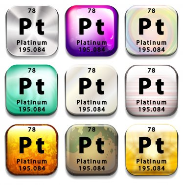 A periodic table button showing the Platinum