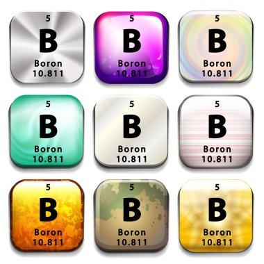 A periodic table button showing Boron