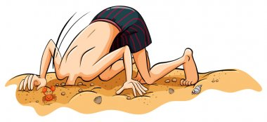 A boy putting his face in the sand
