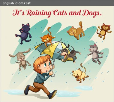 An idiom showing a rain with animals