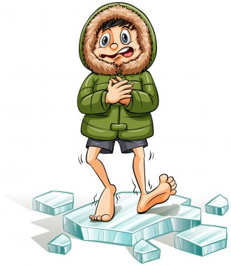 An idiom showing a boy getting a cold feet on a white background clip art vector