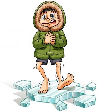 A boy getting a cold feet