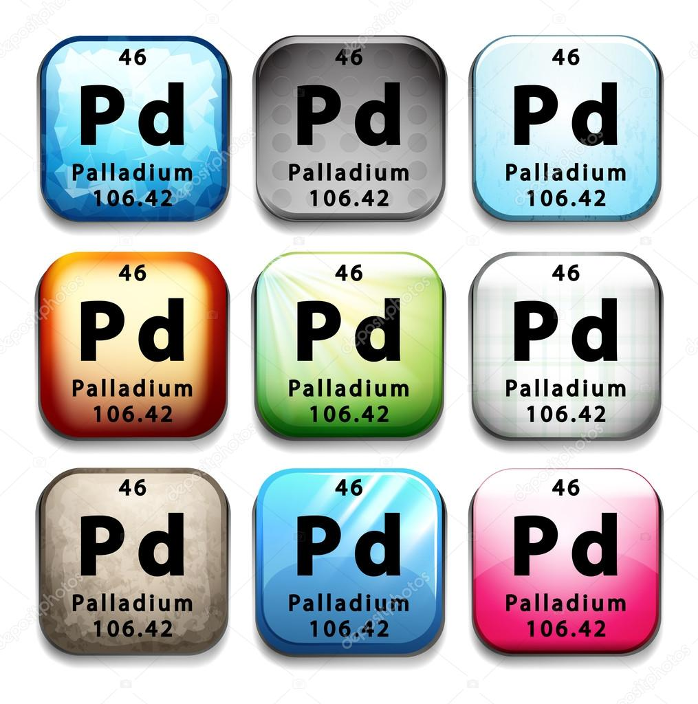 An Icon With The Chemical Element Palladium Stock Vector