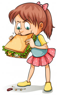 A young girl with a sandwich