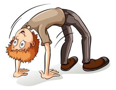 A boy bending backward
