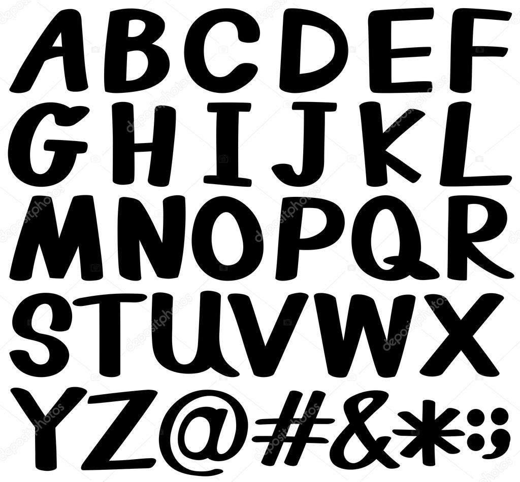 Letras del alfabeto en color negro — Archivo Imágenes Vectoriales ...