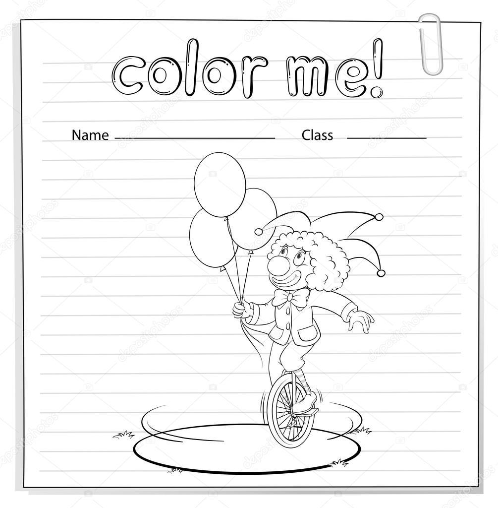 Hoja para colorear con un payaso — Archivo Imágenes Vectoriales ...