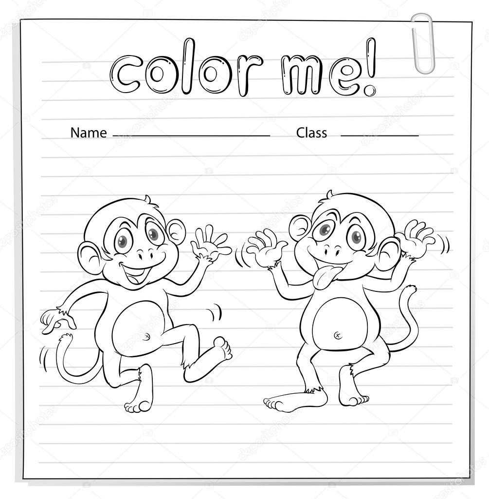 Hoja para colorear con los monos — Vector de stock © blueringmedia ...