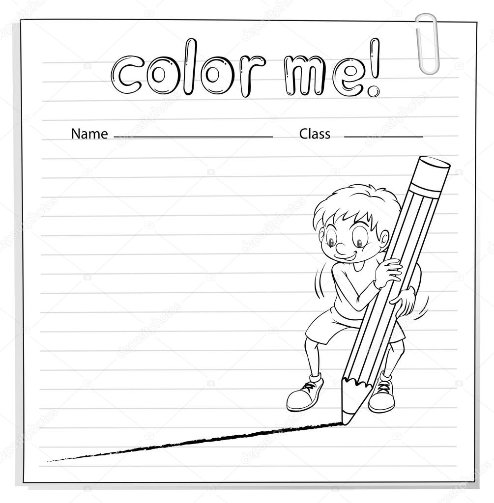 çalışma Sayfası Bir çizgi çekerek Bir çocuk Ile Boyama Stok Vektör