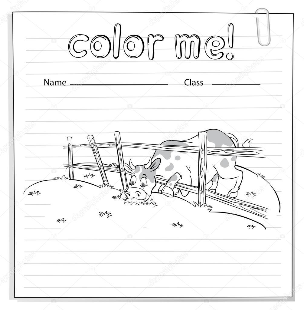 Hoja para colorear con una vaca — Vector de stock © blueringmedia ...