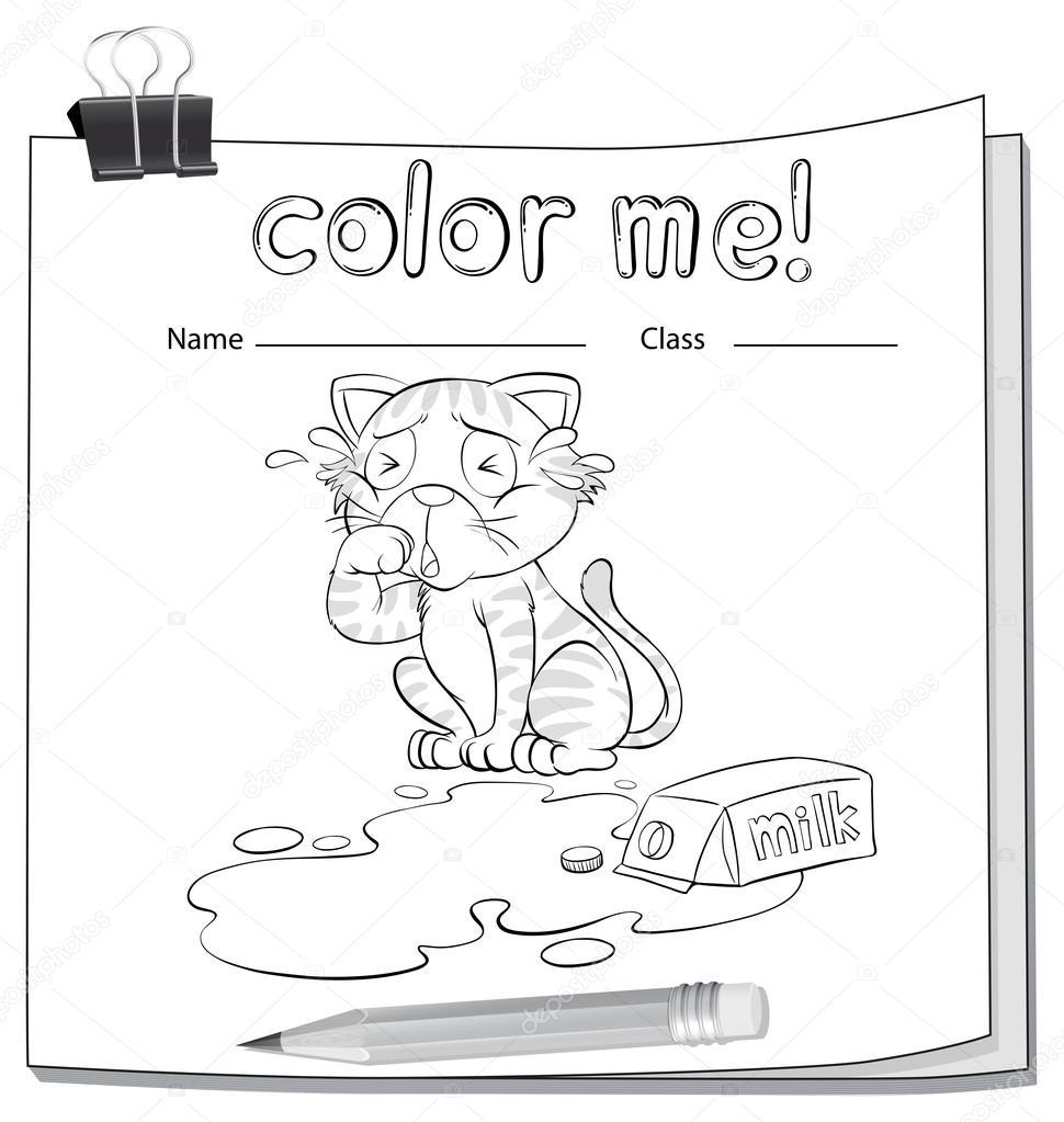 Hoja para colorear con un gato llorando — Archivo Imágenes ...
