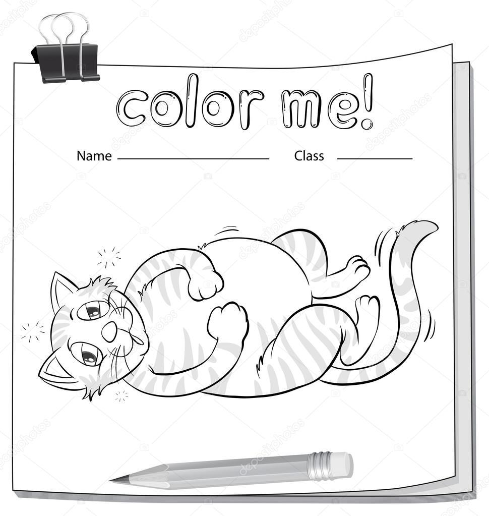 Arbeitsblatt mit einem Bleistift und einer Katze Färbung ...