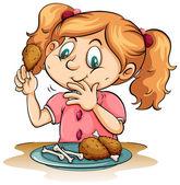 Éhes lány étkezési csirke