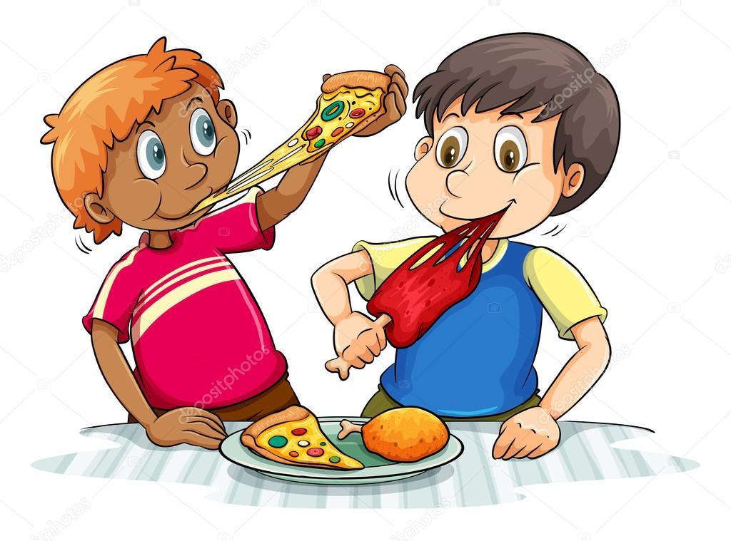 Niños Hambrientos Comiendo
