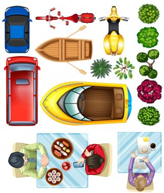 Topview of vehicles, plants and people at the table