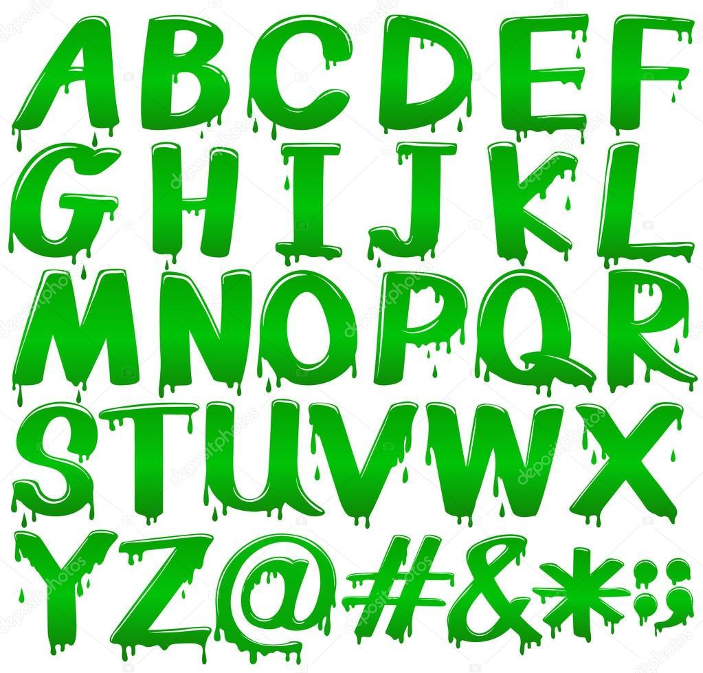 Plantilla de letras del alfabeto en una fusión verde — Vector de ...