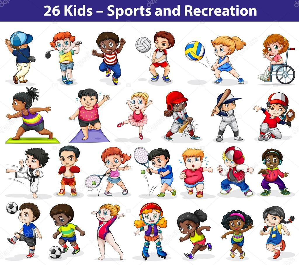 Kids engaging in different indoor and outdoor activities on a white background stock vector