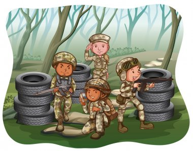Group of soldiers preparing to attack the enemy stock vector