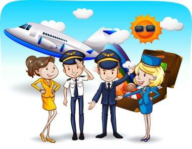 Pilots and flight attendants in uniform stock vector
