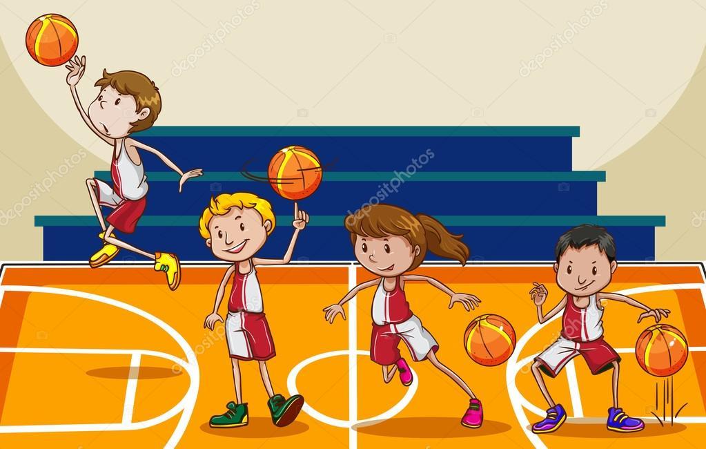 fotos de gente jugando al baloncesto