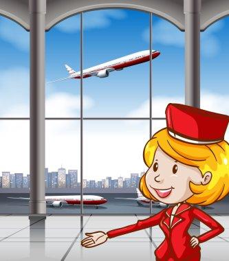 Air hostess at airport