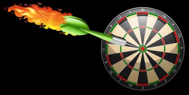 Flaming dart and board