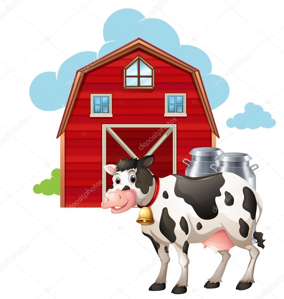 Animado Un Establo Establo Y Vacas Vector De Stock