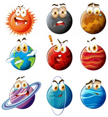 Planets with faces on white