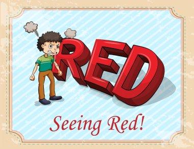 Fuming man seeing red