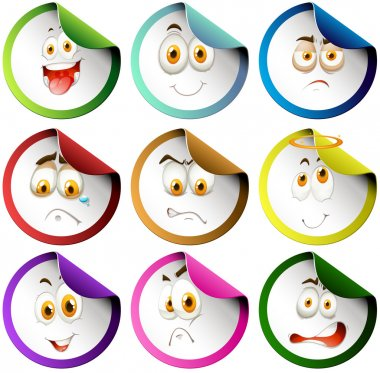 Colorful border emoticon stickers