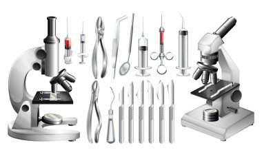 Different medical equipments and tools