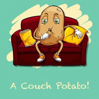 Potato eating chips on couch