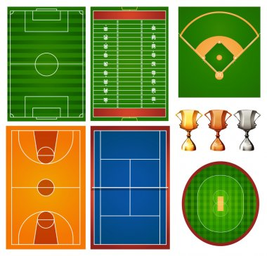 Different sport courts and trophy illustration clip art vector