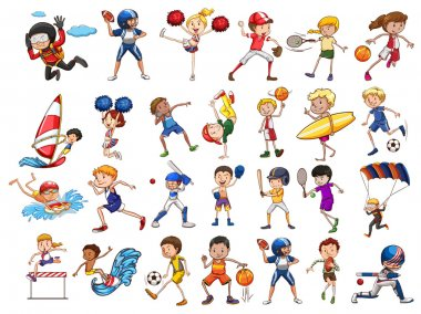 People practicing different sports