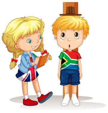 Boy and girl measure the height illustration clip art vector