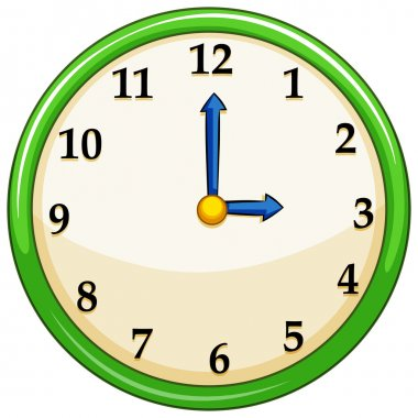 Round clock with green frame illustration stock vector