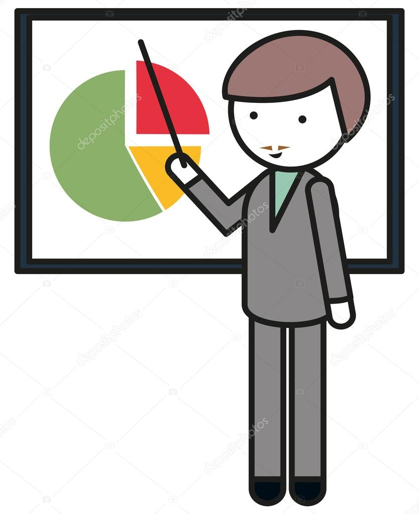 Man Pointing At Pie Chart Stock Vector Blueringmedia 85328228