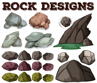 Different kind of rock designs illustration stock vector
