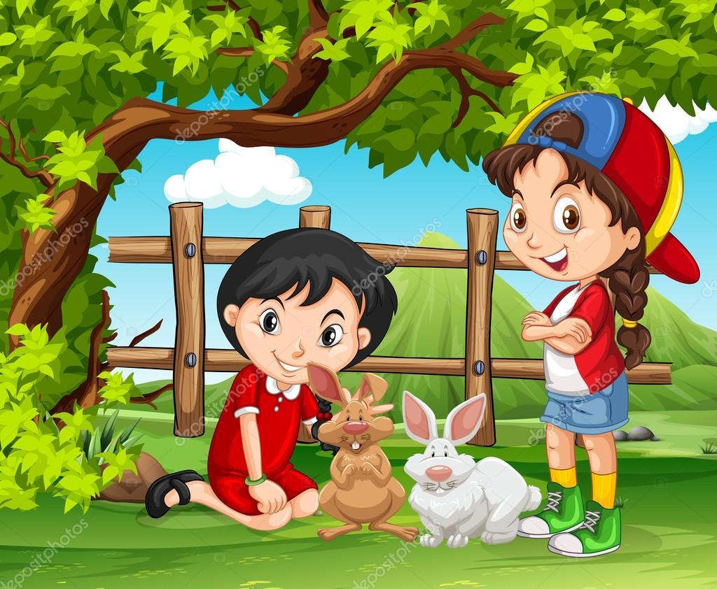 Niñas Jugando Con Conejos En La Granja