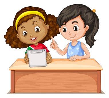 Little girls using computer