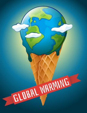 Global warming poster with melting earth