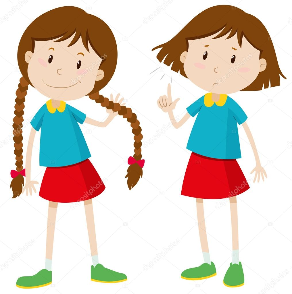 Little Girl With Long And Short Hair Stock Vector