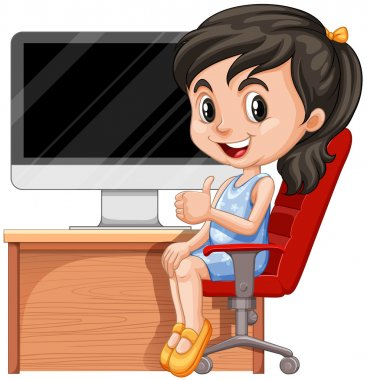 Girl sitting on chair by the computer