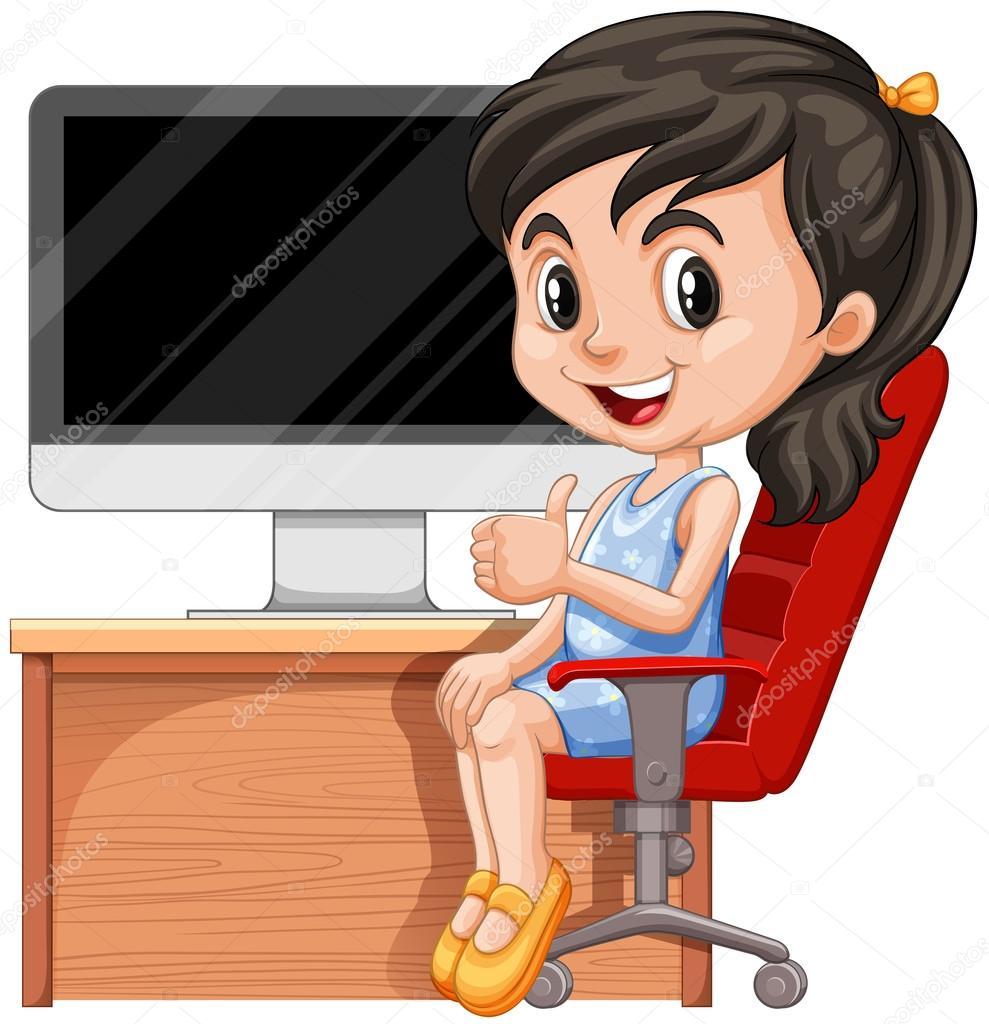 sillas para computadora im genes ni a con computadora ni a sentada en silla de